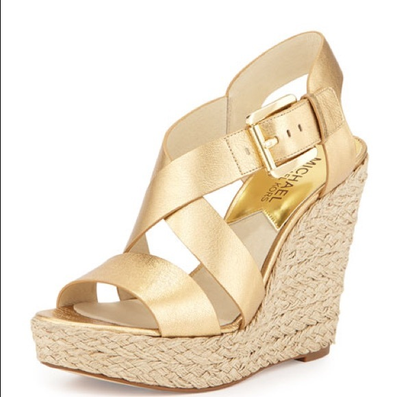 ae241570be6 Giovanna leather espadrille wedge, pale gold NWT
